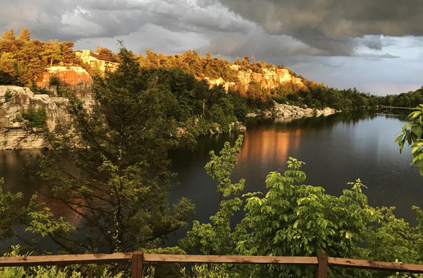 Lake Minnewaska near sundown as a storm rolls in cc Sarah Moser