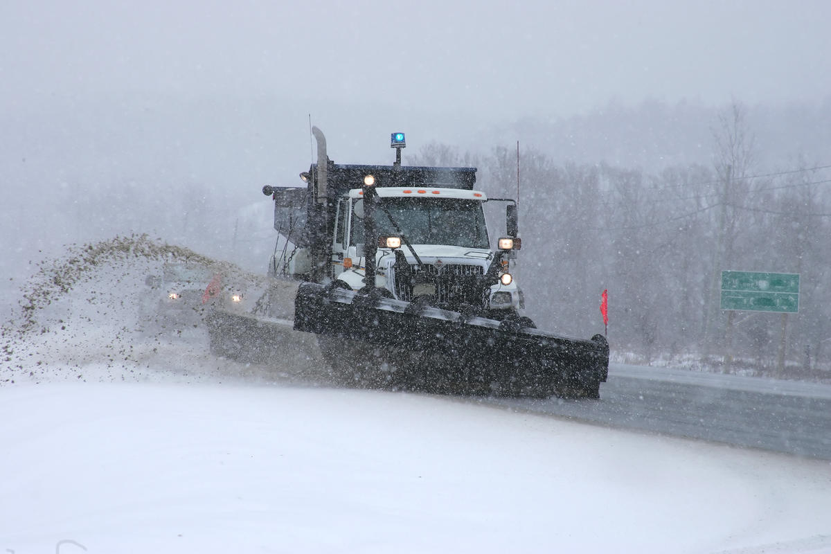 Road salt snow plowing.©